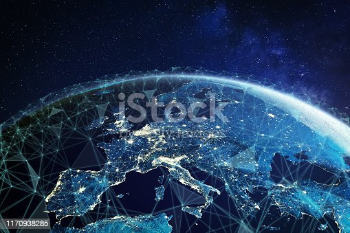 istock Telecommunication network above Europe viewed from space with connected system for European 5g LTE mobile web, global WiFi connection, Internet of Things (IoT) technology or blockchain fintech 1170938285