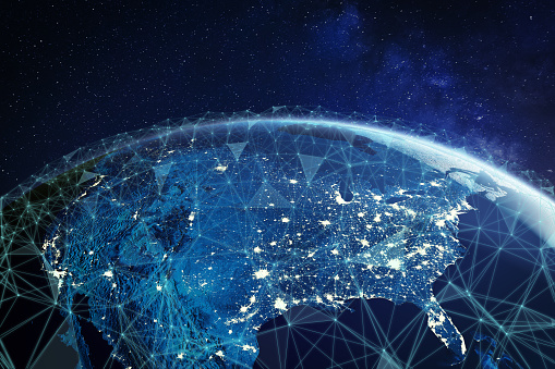 185274311 istock photo Telecommunication network above North America and United States viewed from space for American 5g LTE mobile web, global WiFi connection, Internet of Things (IoT) technology or blockchain fintech 1170940675