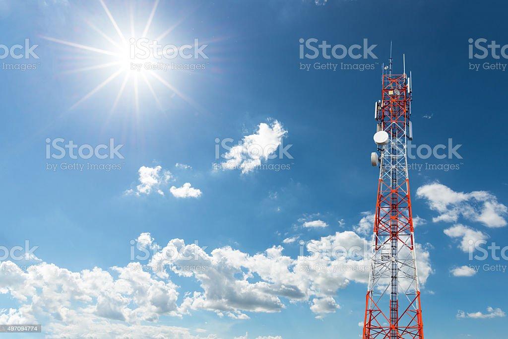 Telecommunication Radio Antenna and Satellite Tower stock photo
