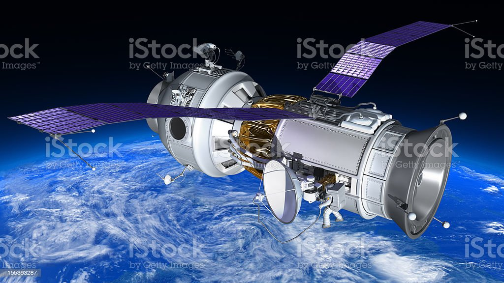 Telecommunication space station royalty-free stock photo