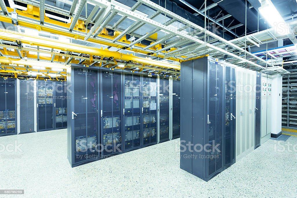telecommunication technical data center room interior stock photo