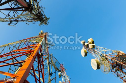istock Telecommunication tower against the blue sky 171589945