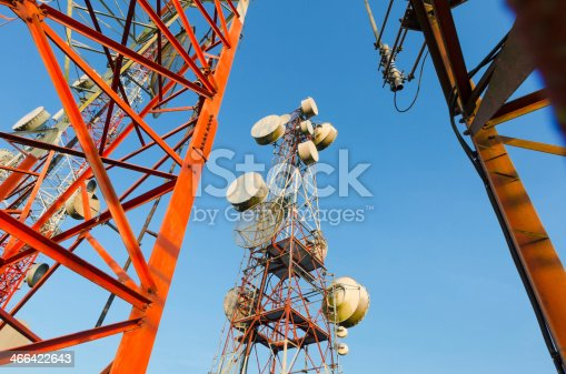 istock Telecommunication tower against the blue sky 466422643