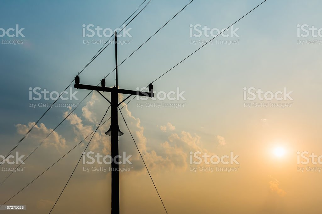 Telecommunication Tower in Evening Light. stock photo