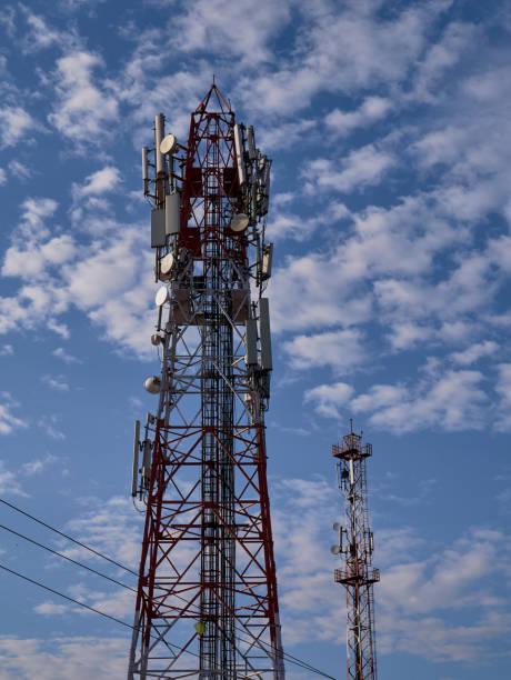 Telecommunication tower mast antennas wireless technology with blue sky Idar Sabarkantha Gujarat