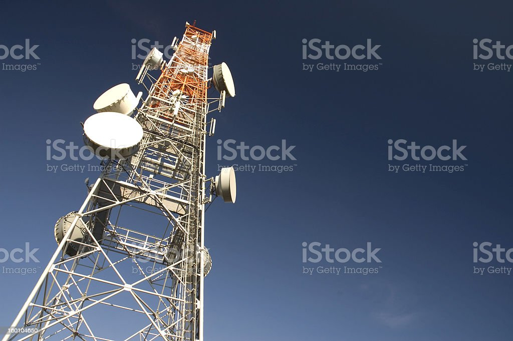 Telecommunication tower (space for text) stock photo