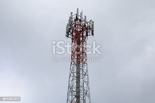istock Telecommunication tower with antennas communication, telecom radio telephone mobile phone in evening sky 941251012