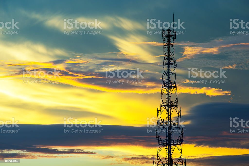 Telecommunication tower with beautiful sky background stock photo