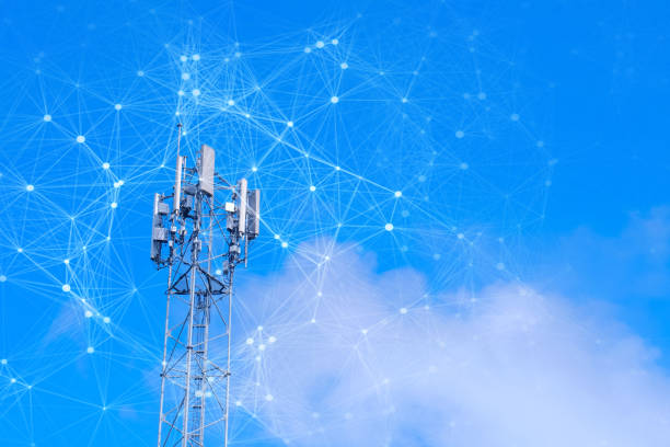 Telecommunication tower with mesh dots, glittering particles for wireless telecommunication technology Telecommunication tower with mesh dots, glittering particles for wireless telecommunication technology telecommunications equipment stock pictures, royalty-free photos & images
