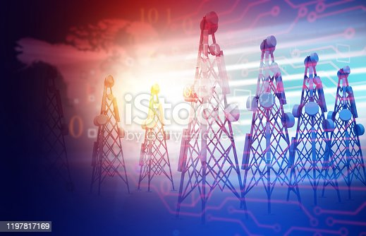 Telecommunication towers  on abstract technology background. 3d illustration