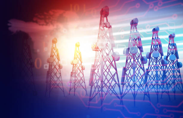 Telecommunication towers  on abstract technology background Telecommunication towers  on abstract technology background. 3d illustration telecommunications equipment stock pictures, royalty-free photos & images