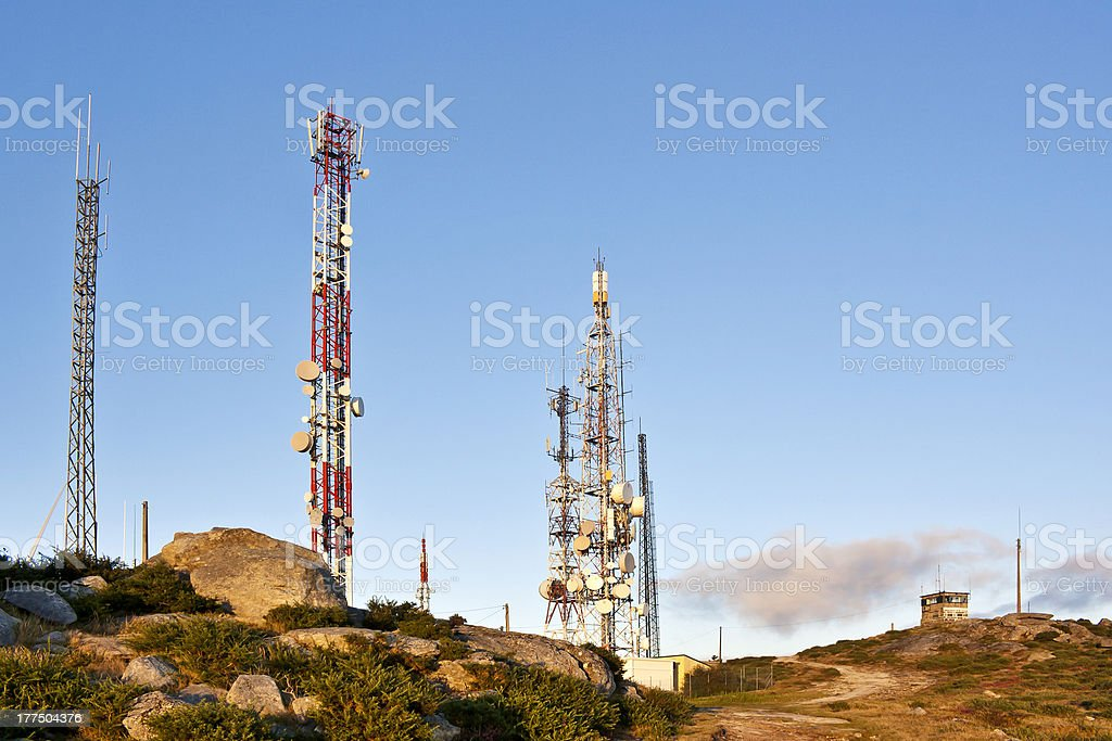 Telecommunication towers on Xiabre mount stock photo