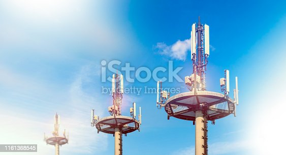Telecommunication tower in the city area