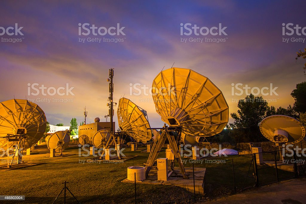 Telecommunication wifi wireless satelite antenna dish data transmit radio telescope stock photo