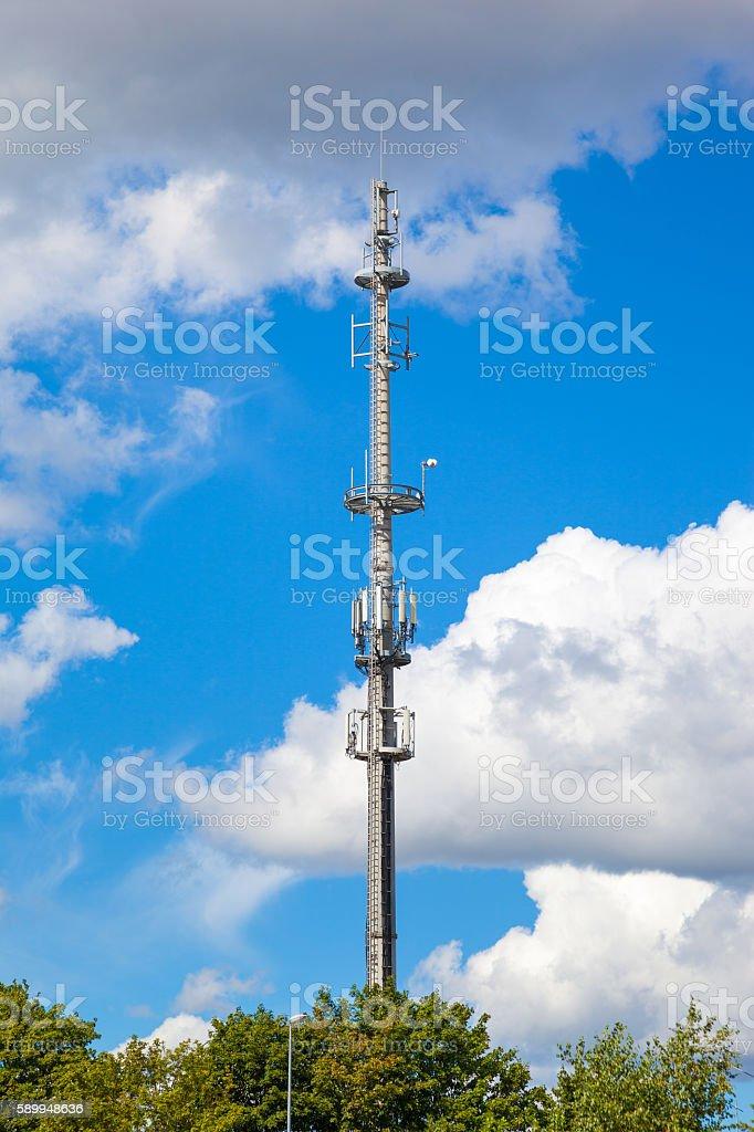 Telecommunications tower antenna stock photo