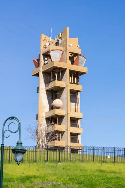 Telecommunications tower on top of Communications Hill, San Jose, California stock photo