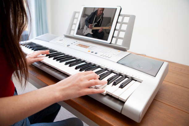 Teleconferencing to make music stock photo