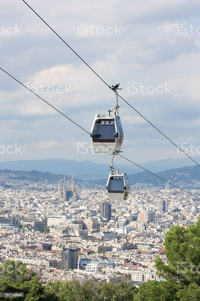 Teleferic cable cars over Barcelona royalty-free stock photo