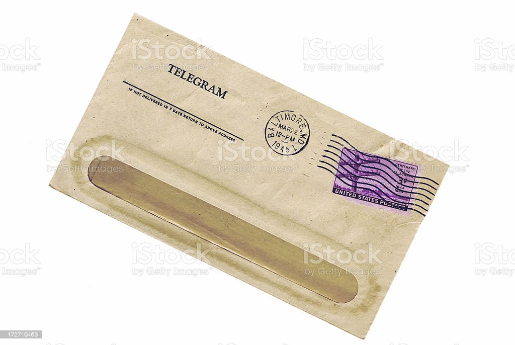 Telegram 1945 royalty-free stock photo