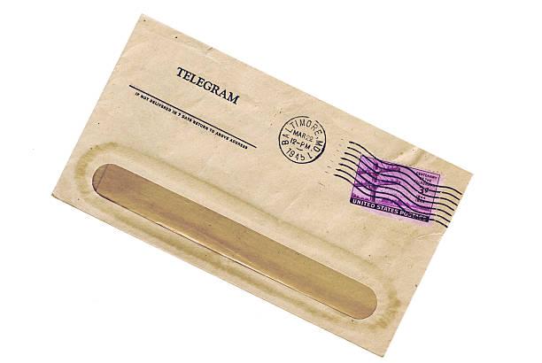 Telegram 1945 stock photo