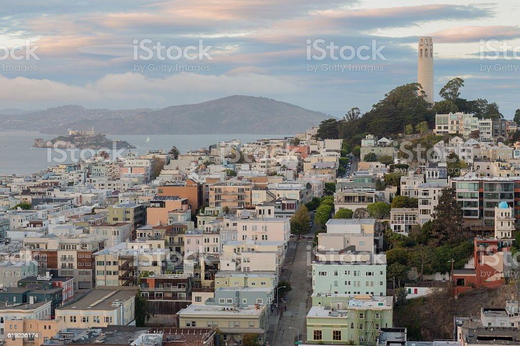 Telegraph Hill and North Beach Neighborhoods stock photo