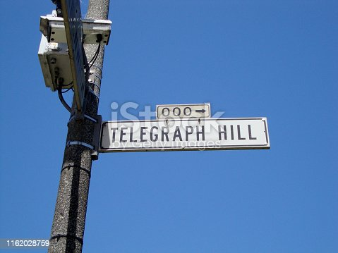 Telegraph Hill Street Sign and Camera on Pole in San Francisco, California.