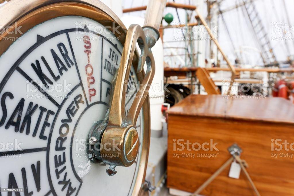 Telegraph on tallship stock photo