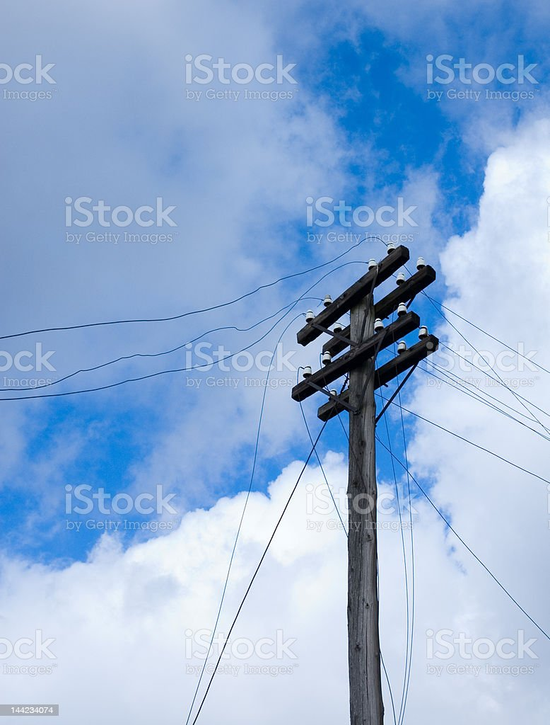 telegraph pole over blue sky background royalty-free stock photo