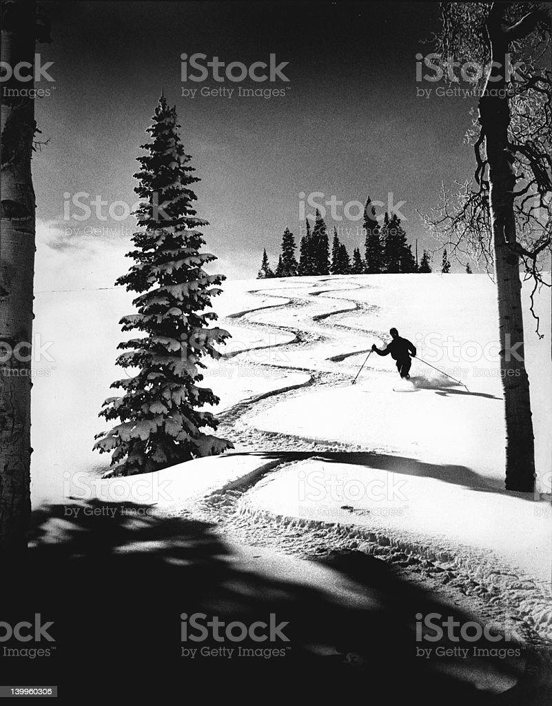 Telemark Skiing Utah Backcountry stock photo