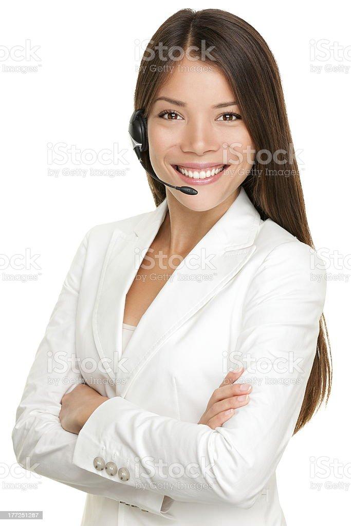 Telemarketing headset woman stock photo