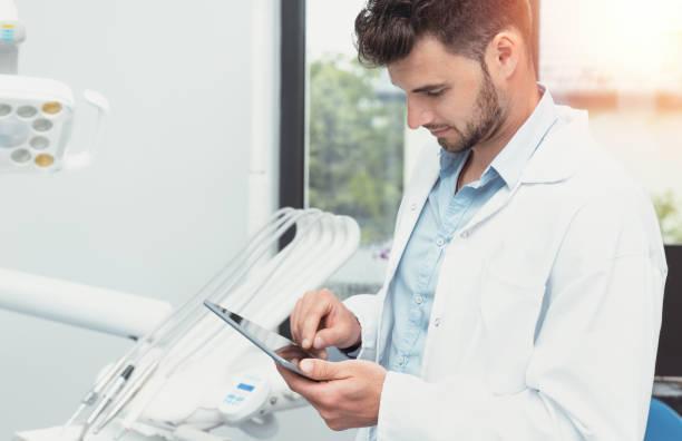 Telemedicine, remote health care concept stock photo