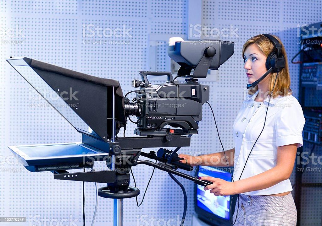 teleoperator at TV studio stock photo