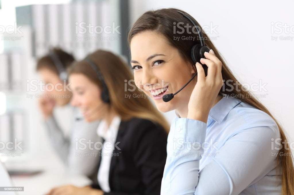 Teleoperator working looking at you stock photo