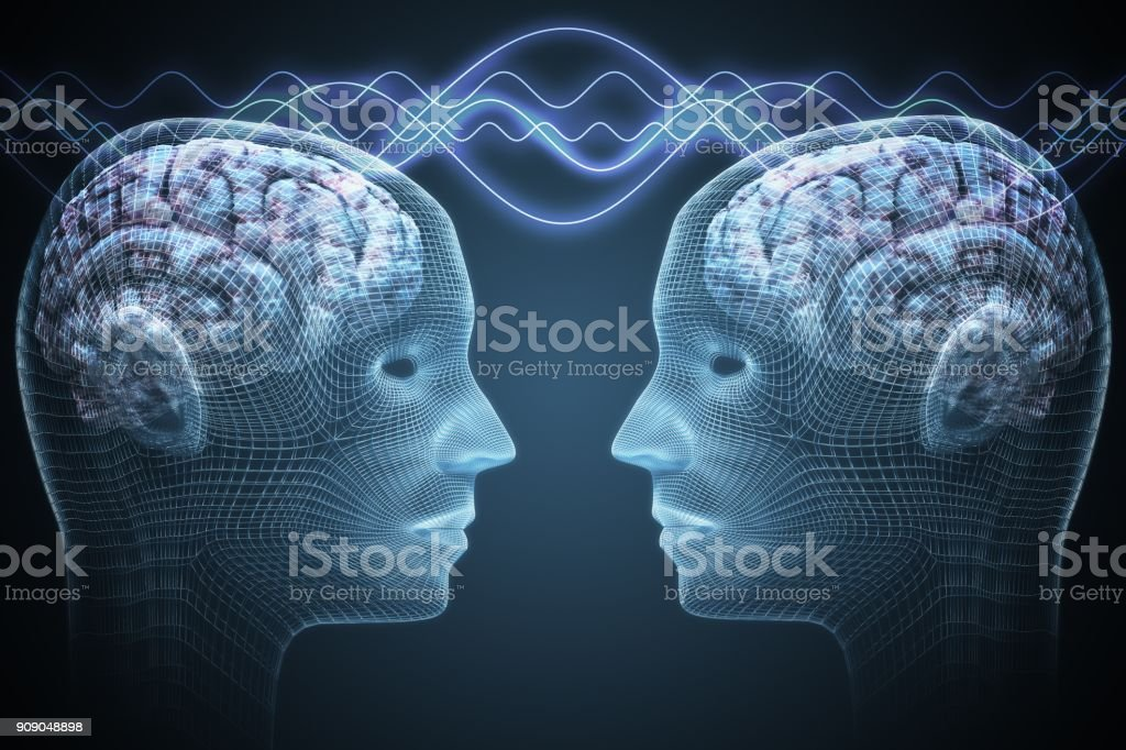 Telepathy concept. Two people are communicating. 3D rendered illustration. stock photo