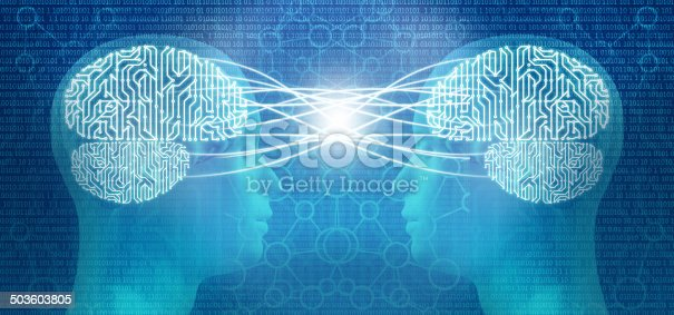 istock Telepathy: two cyborg human heads and circuit brain, mind control 503603805