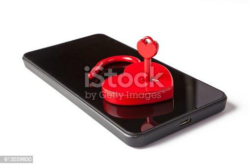 istock Telephone and a Love Padlock 613559600