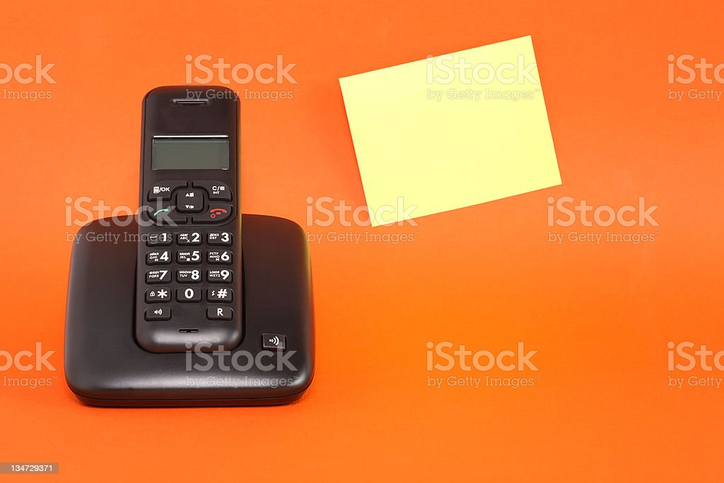Telephone And Adhesive Note stock photo