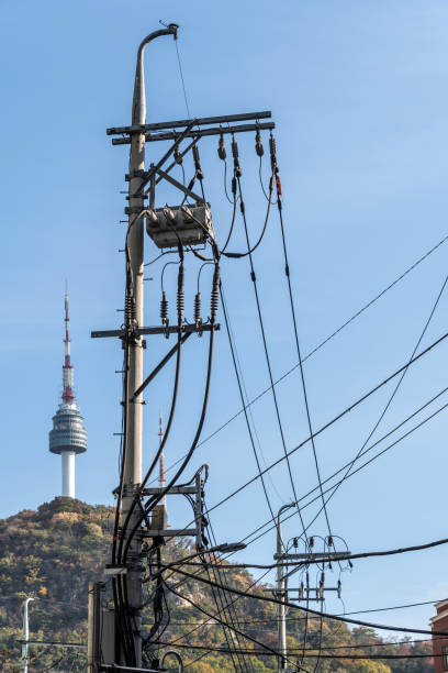 Telephone and electric wires iwth N Seoul Tower stock photo