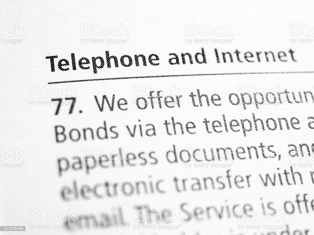 Telephone and internet stock photo