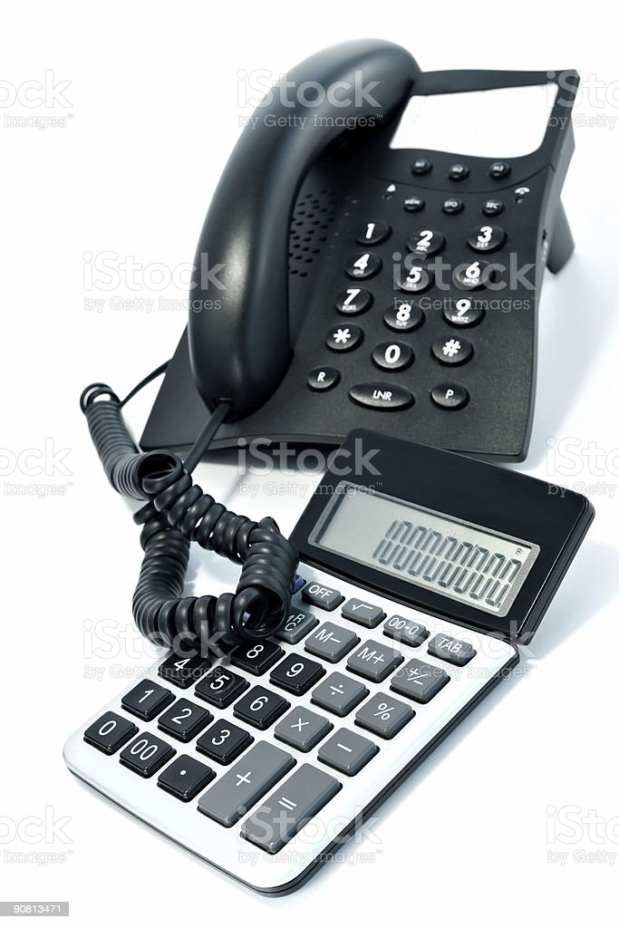 Telephone and the calculator royalty-free stock photo