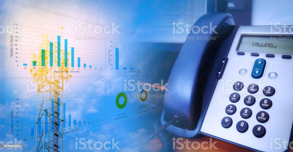 IP Telephone blending with Antenna tower stock photo