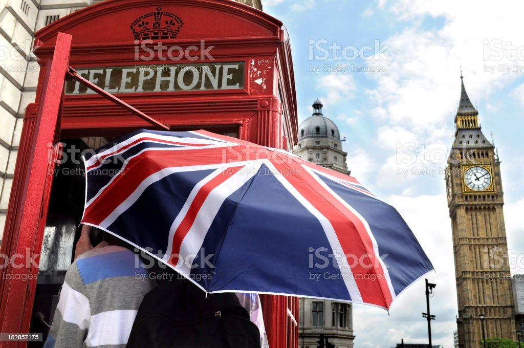 Telephone booth and Big Ben in London royalty-free stock photo