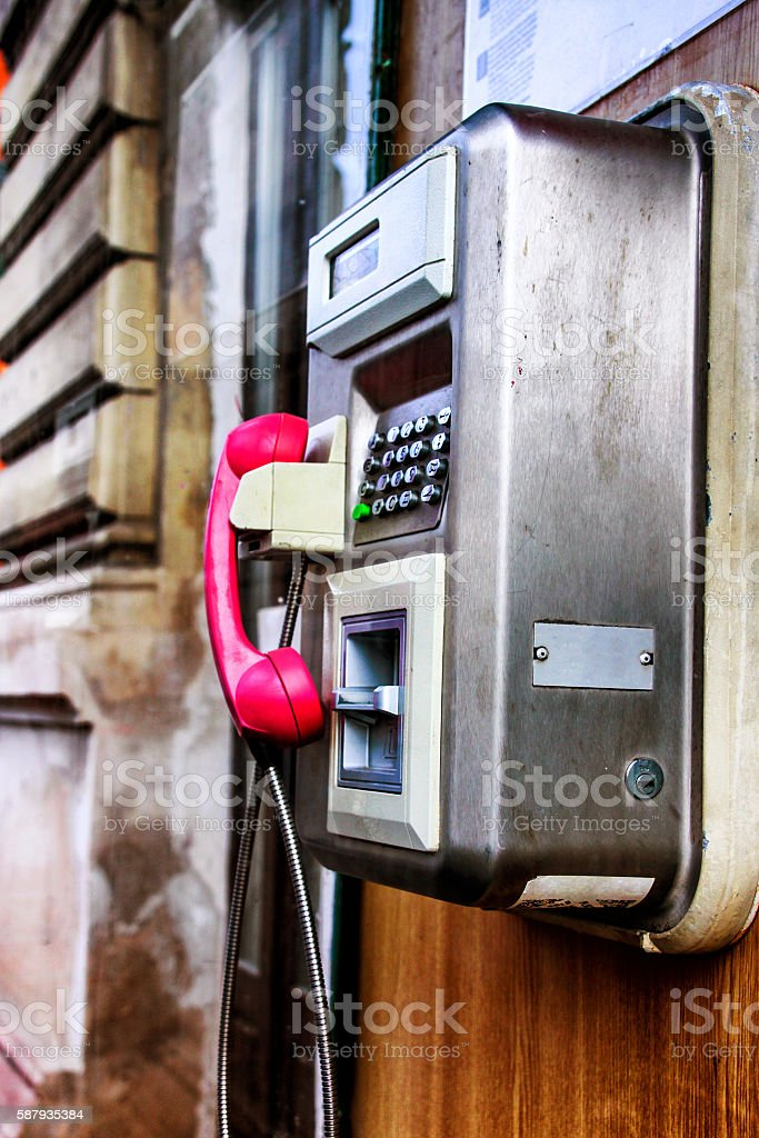 Telephone booth inside stock photo