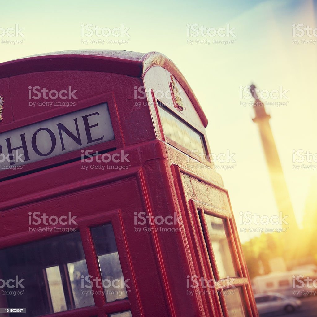 Telephone Booth on London Street at sunset royalty-free stock photo