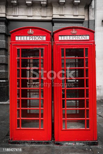 Two telephone booths on a London street