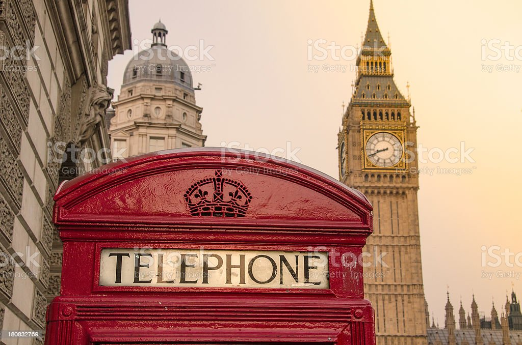 Telephone Box and Big Ben - London royalty-free stock photo