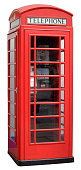 Traditional British red telephone box as seen all over the UK.