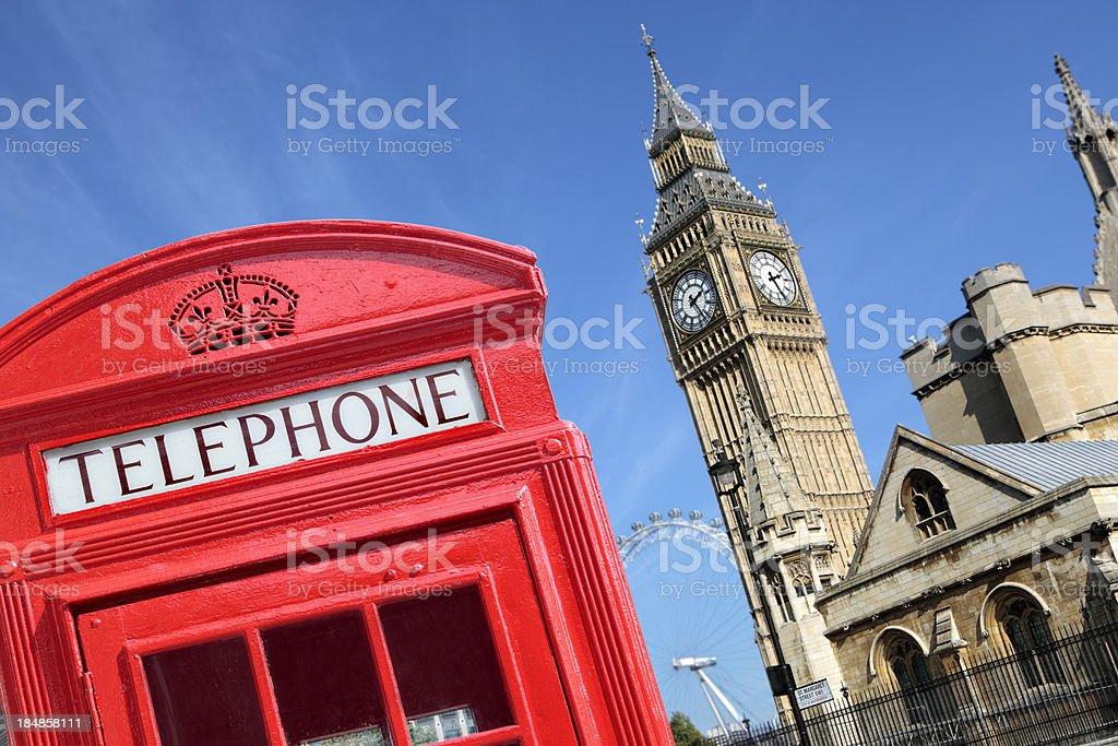Telephone box with Big Ben royalty-free stock photo