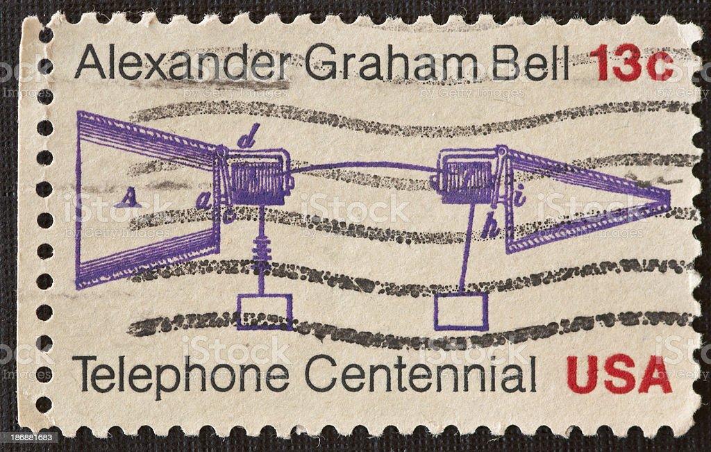 Telephone Centennial Postage Stamp stock photo