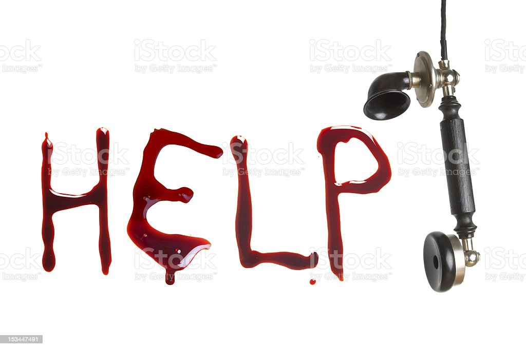 Telephone cry for help stock photo
